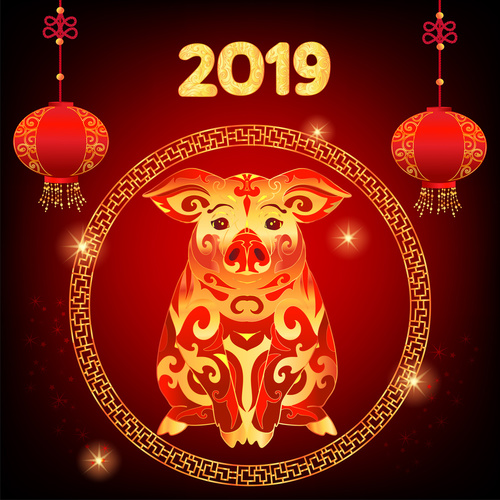 Happy Chinese New Year 2019, Zodiac sign Pig. Background for con